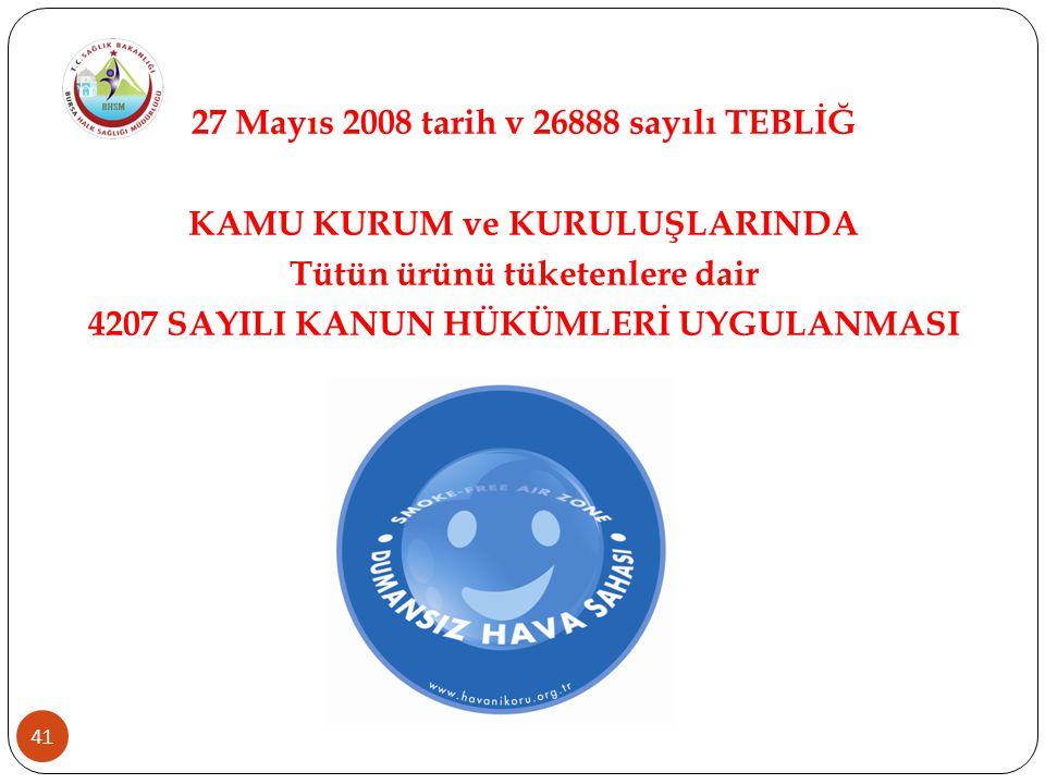 41 27 Mayıs 2008 tarih v 26888 sayılı TEBLİĞ KAMU KURUM ve KURULUŞLARINDA Tütün ürünü tüketenlere dair 4207 SAYILI KANUN HÜKÜMLERİ UYGULANMASI