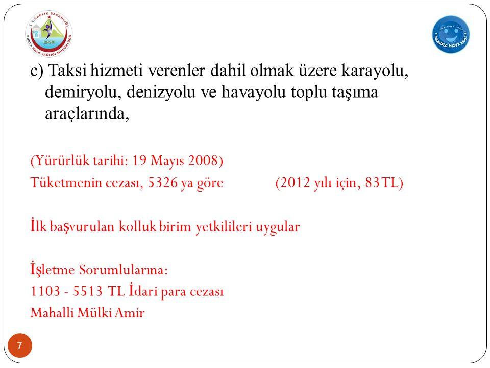 7 c) Taksi hizmeti verenler dahil olmak üzere karayolu, demiryolu, denizyolu ve havayolu toplu taşıma araçlarında, (Yürürlük tarihi: 19 Mayıs 2008) Tüketmenin cezası, 5326 ya göre (2012 yılı için, 83 TL) İ lk ba ş vurulan kolluk birim yetkilileri uygular İş letme Sorumlularına: 1103 - 5513 TL İ dari para cezası Mahalli Mülki Amir
