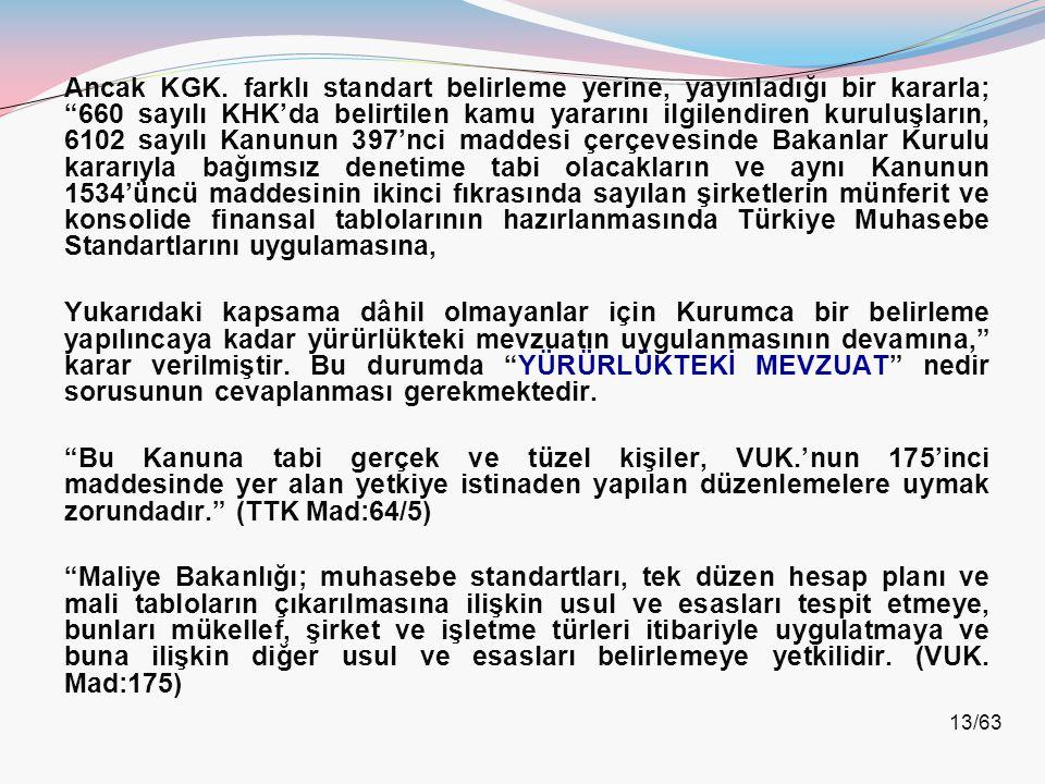 """13/63 Ancak KGK. farklı standart belirleme yerine, yayınladığı bir kararla; """"660 sayılı KHK'da belirtilen kamu yararını ilgilendiren kuruluşların, 610"""
