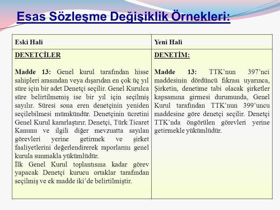 17/63 Esas Sözleşme Değişiklik Örnekleri: Eski HaliYeni Hali DENETÇİLER Madde 13: Genel kurul tarafından hisse sahipleri arasından veya dışarıdan en ç