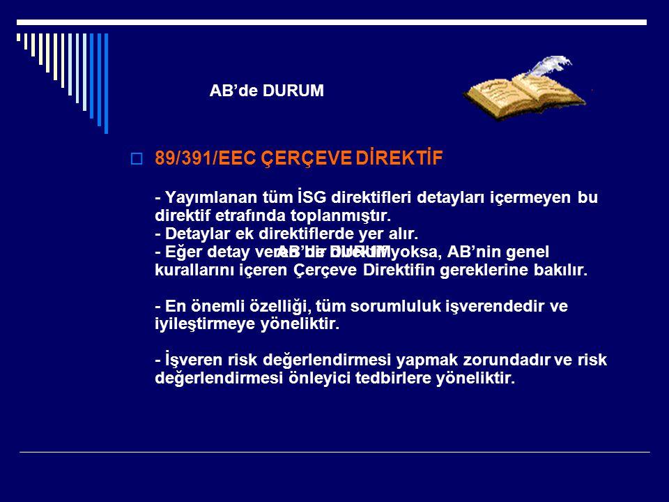  89/391/EEC ÇERÇEVE DİREKTİF - Yayımlanan tüm İSG direktifleri detayları içermeyen bu direktif etrafında toplanmıştır. - Detaylar ek direktiflerde ye