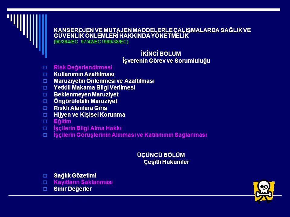 KANSEROJEN VE MUTAJEN MADDELERLE ÇALIŞMALARDA SAĞLIK VE GÜVENLİK ÖNLEMLERİ HAKKINDA YÖNETMELİK (90/394/EC, 97/42/EC1999/38/EC) İKİNCİ BÖLÜM İşverenin