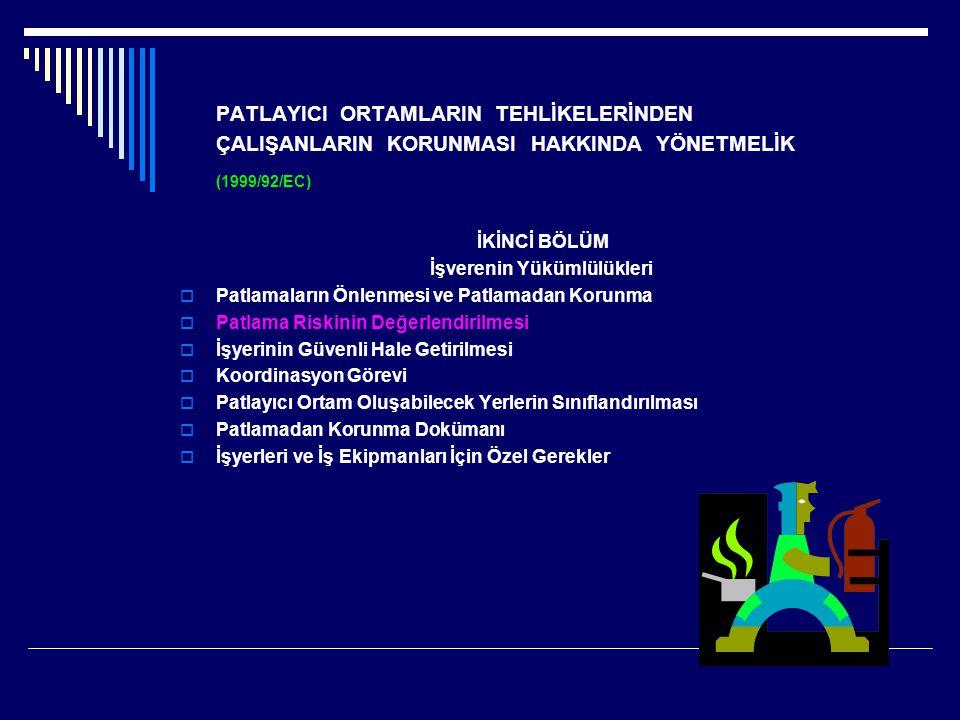 PATLAYICI ORTAMLARIN TEHLİKELERİNDEN ÇALIŞANLARIN KORUNMASI HAKKINDA YÖNETMELİK (1999/92/EC) İKİNCİ BÖLÜM İşverenin Yükümlülükleri  Patlamaların Önle