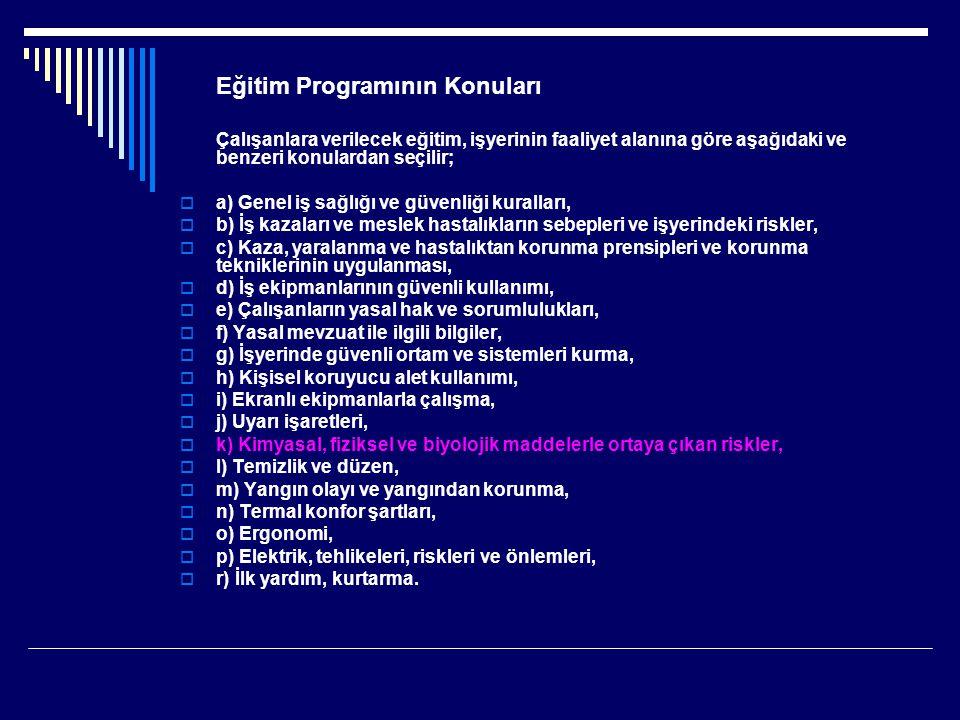 Eğitim Programının Konuları Çalışanlara verilecek eğitim, işyerinin faaliyet alanına göre aşağıdaki ve benzeri konulardan seçilir;  a) Genel iş sağlı
