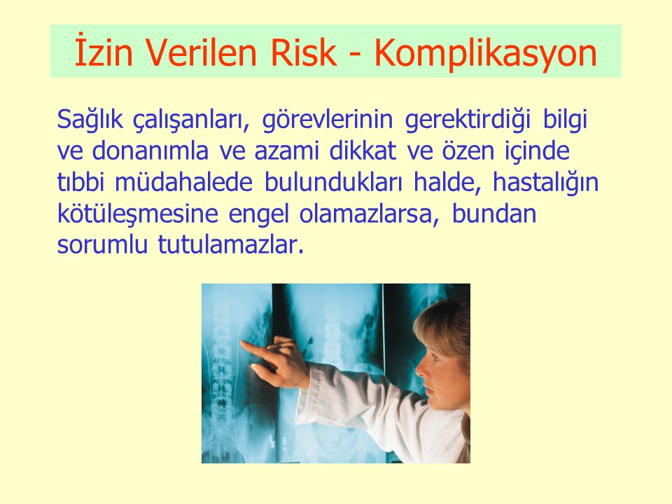 Sağlık Hizmetlerine Yönelik Muhtelif Suçlar (YTCK) 1.Bulaşıcı hastalıklara ilişkin tedbirlere uymama (195): 2 ay – 1 yıl hapis 2.Sağlık için sakıncalı ve bozulmuş ilaçları üretme, bulundurma ve satma (186,187): 1 – 5 yıl hapis 3.Sağlık için tehlikeli maddeleri çocuklara, akıl hastalarına veya uçucu madde kullananlara verme veya tüketimine sunma (194): 6 ay – 1 yıl hapis 4.Cinsel saldırı (şikayete tabi) 102: 2 – 7 yıl hapis Memuriyet veya hizmetin nüfuzundan yararlanarak veya hastaya karşı olursa ½ artırım 5.Cinsel taciz (şikayete tabi) 105: 3 ay – 2 yıl hapis (Memuriyet veya hizmetin nüfuzundan yararlanarak veya hastaya karşı olursa ½ artırım 6.Ölümlü intihara yardım (84/1): 4 – 10 yıl hapis 7.Ölümsüz intihara yardım (84/2): 2 – 5 yıl hapis 8.Çocukların cinsel istismarı (103): 3 – 8 yıl hapis (Fail sağlık çalışanı ise: ½ artırım ; bu nedenle çocuğun ruh-beden sağlığı bozulursa: en az 15 yıl hapis ; çocuk bitkisel hayata girer veya ölürse: ağırlaştırılmış müeb.