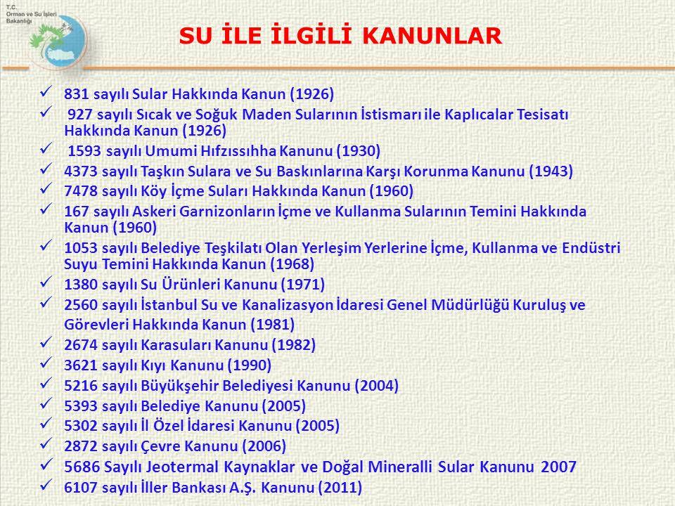 SU İLE İLGİLİ KANUNLAR • 442 sayılı Köy Kanunu (1924) • 743 sayılı Türk Kanun-i Medenisi (1926) • 2510 sayılı İskân Kanunu (1934) • 5516 sayılı Bataklıkların Kurutulması ve Bunlardan Elde Edilecek Topraklar Hakkında Kanun (1950) • 2819 sayılı Elektrik İşleri Etüt İdaresi'nin Teşkiline Dair Kanun (1935) • 3083 Sulama Alanlarında Arazi Düzenlemesine Dair Tarım Reformu Kanunu (1984) • 505 sayılı Enerji ve Tabii Kaynaklar Bakanlığı'nın Teşkilat ve Görevleri Hakkında Kanun (1985) • 3998 sayılı Mezarlıkların Korunması Hakkında Kanun (1994) • 4721 sayılı Türk Medeni Kanunu (2001 • 644 sayılı Çevre ve Şehircilik Bakanlığının Teşkilatı ve Kurulması hakkında KHK(2011), • 645 sayılı Orman ve Su İşleri Bakanlığının Teşkilatı ve Kurulması hakkında KHK (2011), • Su Ürünleri Tüzüğü (1973)