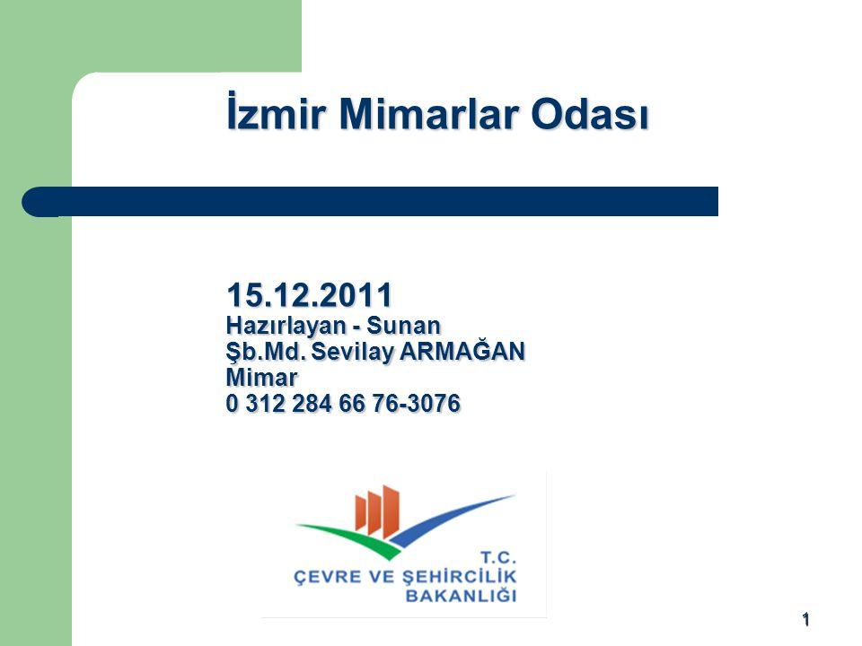 1 İzmir Mimarlar Odası 15.12.2011 Hazırlayan - Sunan Şb.Md. Sevilay ARMAĞAN Mimar 0 312 284 66 76-3076