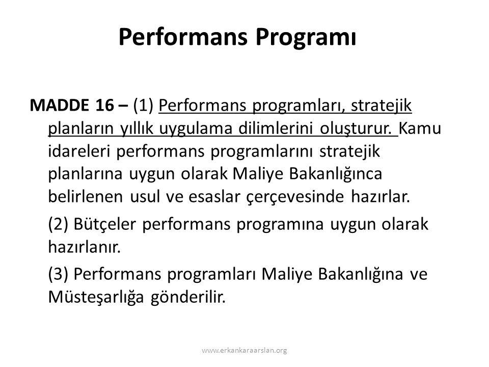 Performans Programı MADDE 16 – (1) Performans programları, stratejik planların yıllık uygulama dilimlerini oluşturur.