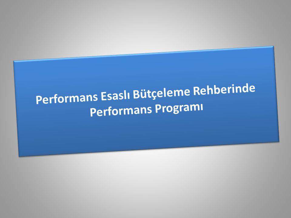 Performans Esaslı Bütçeleme Rehberinde Performans Programı