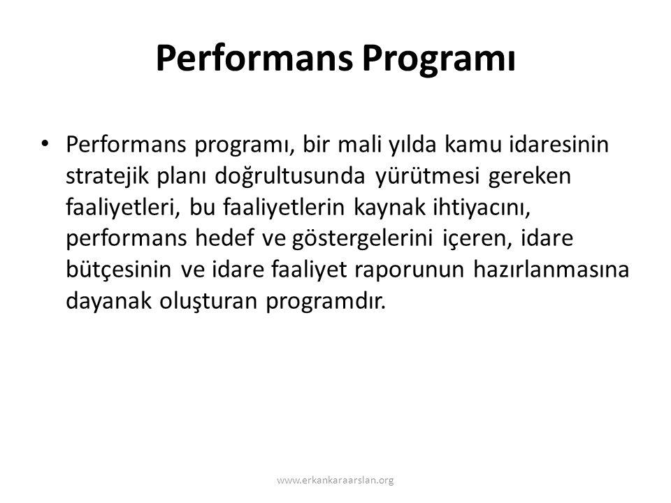 Performans Programı • Performans programı, bir mali yılda kamu idaresinin stratejik planı doğrultusunda yürütmesi gereken faaliyetleri, bu faaliyetlerin kaynak ihtiyacını, performans hedef ve göstergelerini içeren, idare bütçesinin ve idare faaliyet raporunun hazırlanmasına dayanak oluşturan programdır.