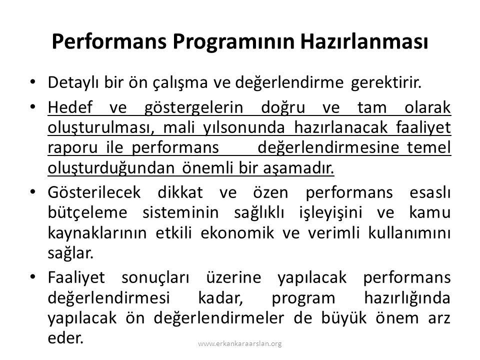 Performans Programının Hazırlanması • Detaylı bir ön çalışma ve değerlendirme gerektirir.