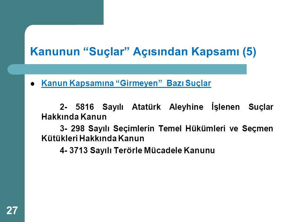 """Kanunun """"Suçlar"""" Açısından Kapsamı (5)  Kanun Kapsamına """"Girmeyen"""" Bazı Suçlar 2- 5816 Sayılı Atatürk Aleyhine İşlenen Suçlar Hakkında Kanun 3- 298 S"""