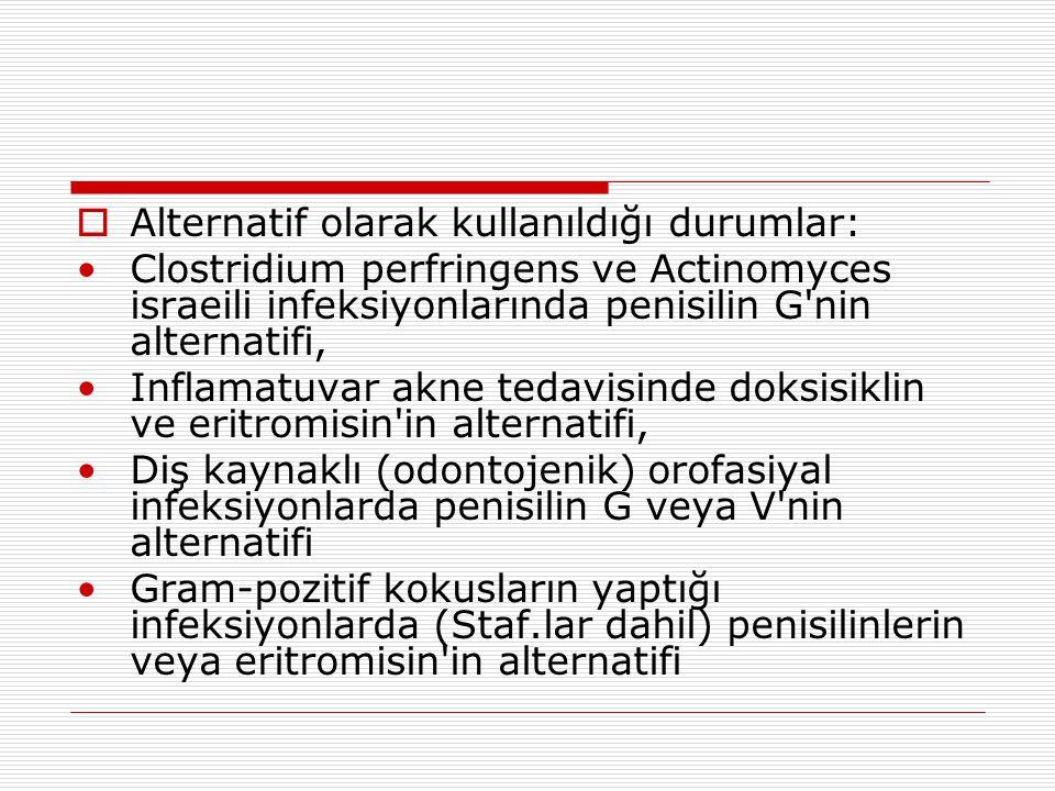  Alternatif olarak kullanıldığı durumlar: •Clostridium perfringens ve Actinomyces israeili infeksiyonlarında penisilin G'nin alternatifi, •Inflamatuv