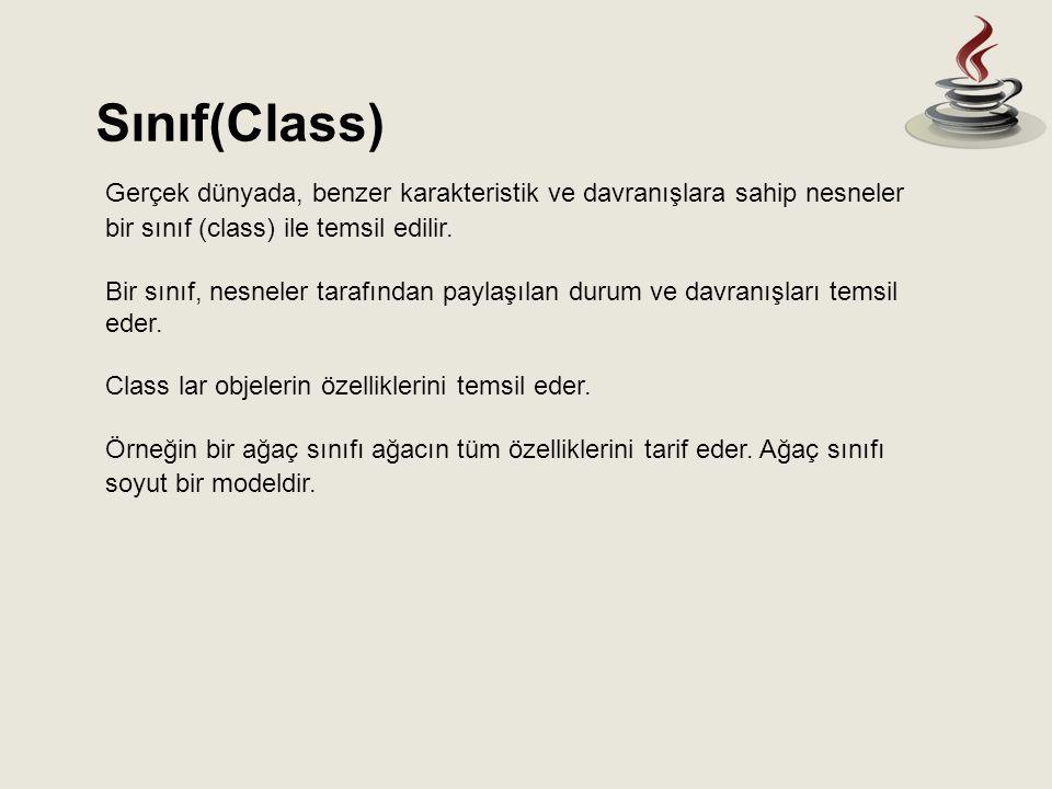 Sınıf(Class) Gerçek dünyada, benzer karakteristik ve davranışlara sahip nesneler bir sınıf (class) ile temsil edilir. Bir sınıf, nesneler tarafından p
