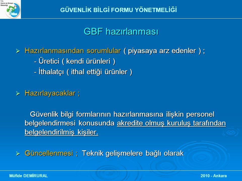 GBF hazırlanması  Hazırlanmasından sorumlular ( piyasaya arz edenler ) ; - Üretici ( kendi ürünleri ) - Üretici ( kendi ürünleri ) - İthalatçı ( itha