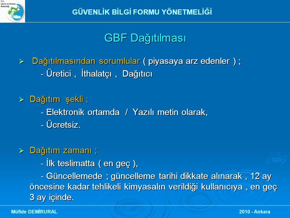 GBF Dağıtılması  Dağıtılmasından sorumlular ( piyasaya arz edenler ) ; - Üretici, İthalatçı, Dağıtıcı - Üretici, İthalatçı, Dağıtıcı  Dağıtım şekli