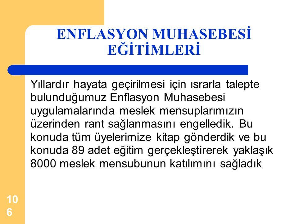 106 ENFLASYON MUHASEBESİ EĞİTİMLERİ Yıllardır hayata geçirilmesi için ısrarla talepte bulunduğumuz Enflasyon Muhasebesi uygulamalarında meslek mensupl