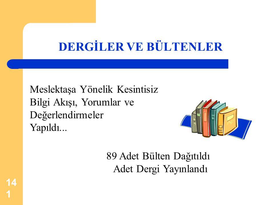 141 DERGİLER VE BÜLTENLER 89 Adet Bülten Dağıtıldı Adet Dergi Yayınlandı Meslektaşa Yönelik Kesintisiz Bilgi Akışı, Yorumlar ve Değerlendirmeler Yapıl