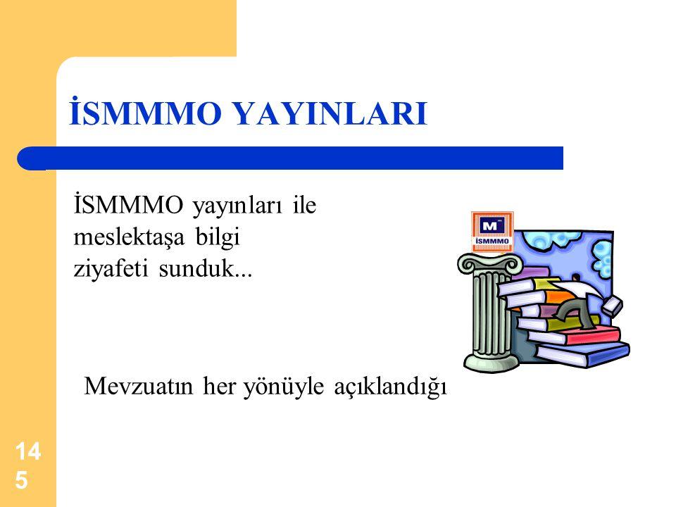 145 İSMMMO YAYINLARI İSMMMO yayınları ile meslektaşa bilgi ziyafeti sunduk... Mevzuatın her yönüyle açıklandığı