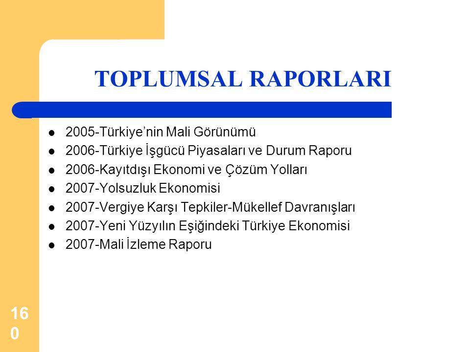 160 TOPLUMSAL RAPORLARI  2005-Türkiye'nin Mali Görünümü  2006-Türkiye İşgücü Piyasaları ve Durum Raporu  2006-Kayıtdışı Ekonomi ve Çözüm Yolları 