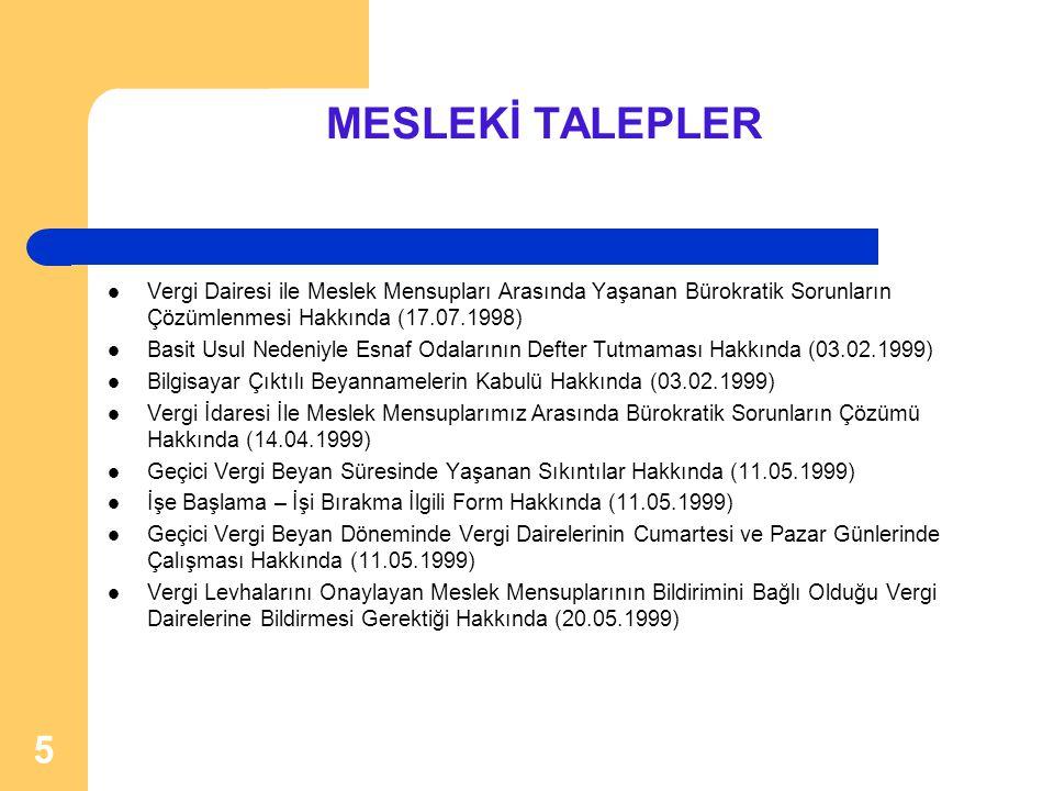 5 MESLEKİ TALEPLER  Vergi Dairesi ile Meslek Mensupları Arasında Yaşanan Bürokratik Sorunların Çözümlenmesi Hakkında (17.07.1998)  Basit Usul Nedeni
