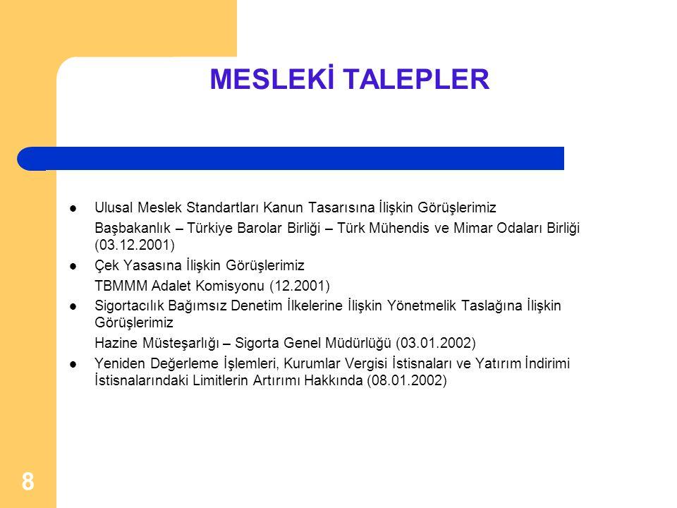 8 MESLEKİ TALEPLER  Ulusal Meslek Standartları Kanun Tasarısına İlişkin Görüşlerimiz Başbakanlık – Türkiye Barolar Birliği – Türk Mühendis ve Mimar O