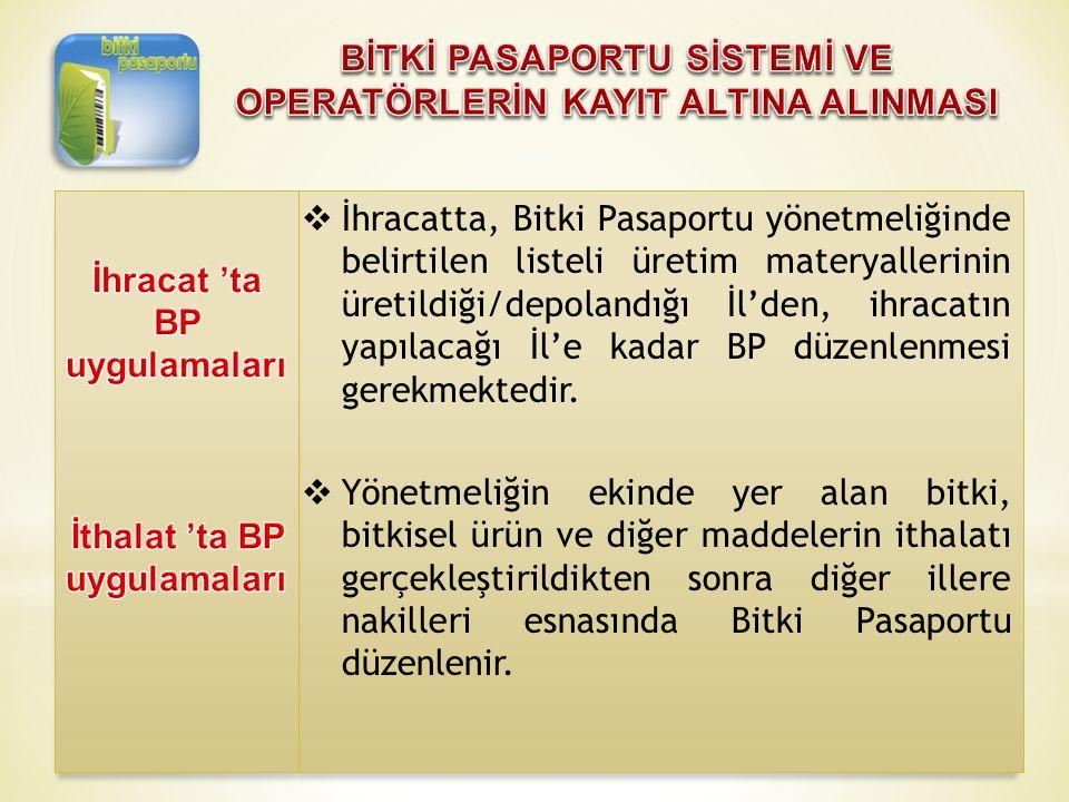  İhracatta, Bitki Pasaportu yönetmeliğinde belirtilen listeli üretim materyallerinin üretildiği/depolandığı İl'den, ihracatın yapılacağı İl'e kadar B