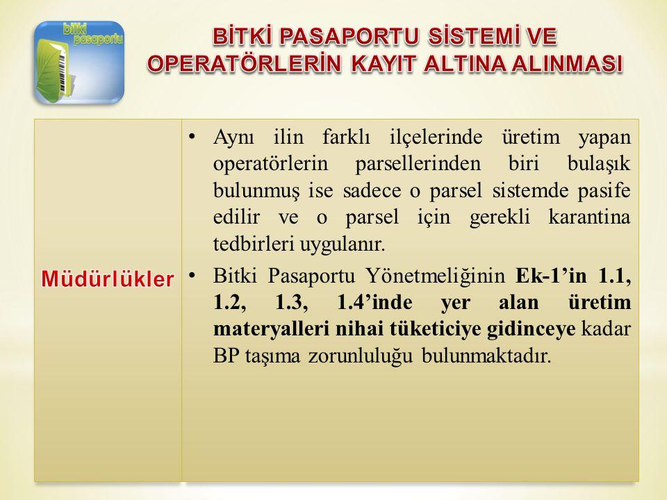 • Aynı ilin farklı ilçelerinde üretim yapan operatörlerin parsellerinden biri bulaşık bulunmuş ise sadece o parsel sistemde pasife edilir ve o parsel