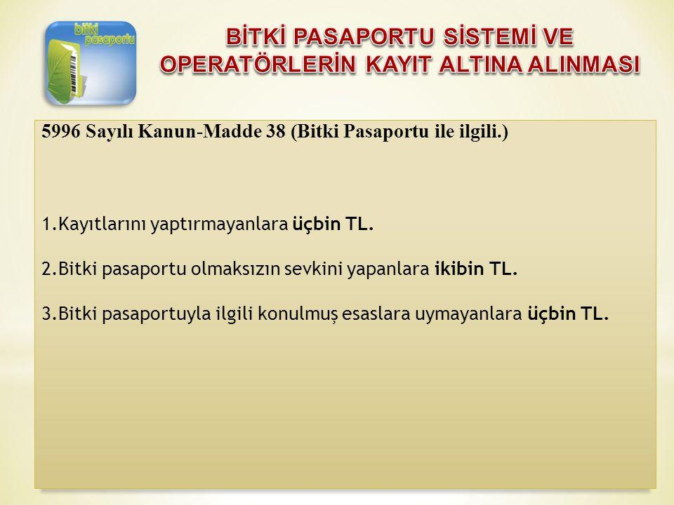 5996 Sayılı Kanun-Madde 38 (Bitki Pasaportu ile ilgili.) 1.Kayıtlarını yaptırmayanlara üçbin TL. 2.Bitki pasaportu olmaksızın sevkini yapanlara ikibin