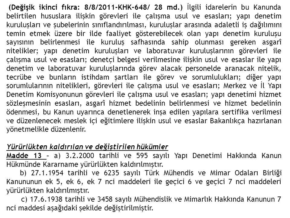 (Değişik ikinci fıkra: 8/8/2011-KHK-648/ 28 md.) İlgili idarelerin bu Kanunda belirtilen hususlara ilişkin görevleri ile çalışma usul ve esasları; yap