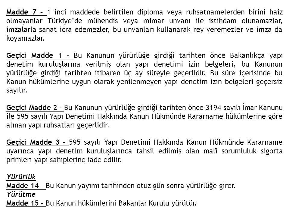 Madde 7 – 1 inci maddede belirtilen diploma veya ruhsatnamelerden birini haiz olmayanlar Türkiye'de mühendis veya mimar unvanı ile istihdam olunamazla