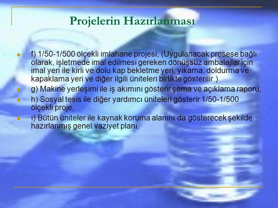 Projelerin Hazırlanması  a) 1/500 ölçekli koruma bölgesini gösterecek biçimde kaynak yeri plan koteleri,  b) 1/20-1/50 ölçekli kaptaj projesi,  c)