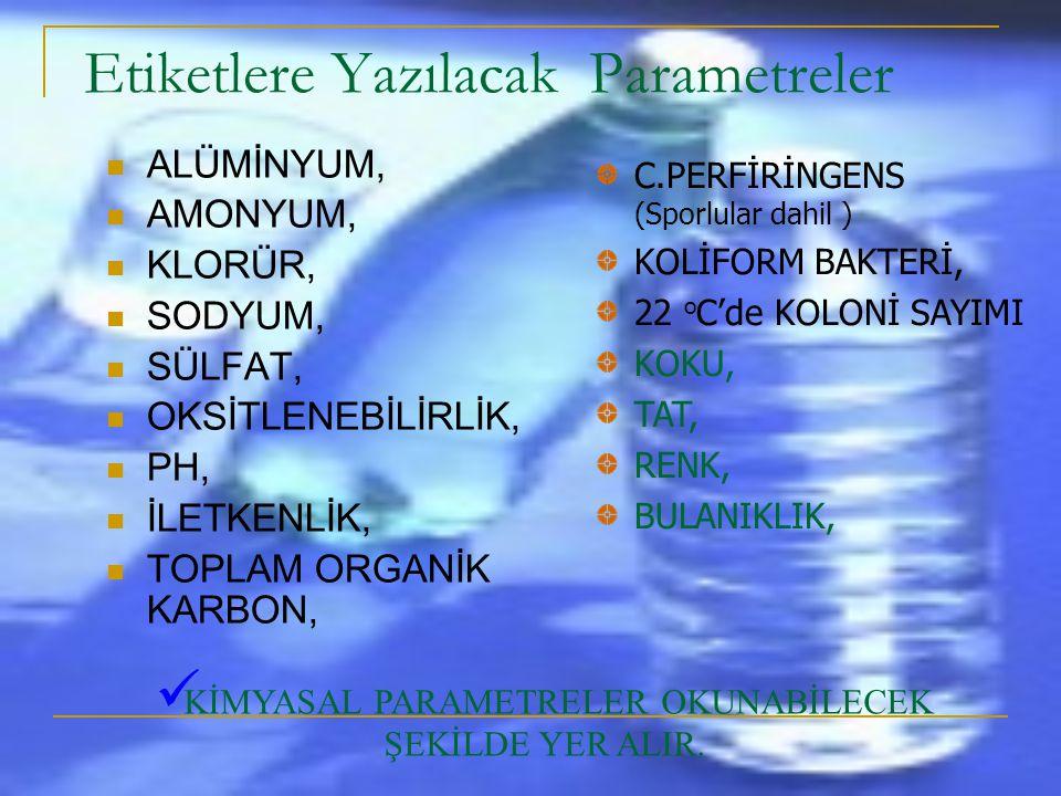 ETİKET BİLGİLERİ  SUYUN ETİKETİNDE  Suyun adı, cinsi,  İmla edildiği yerin adresi  Bakanlıkça verilen iznin tarih ve sayısı, Bakanlığın uygun görd