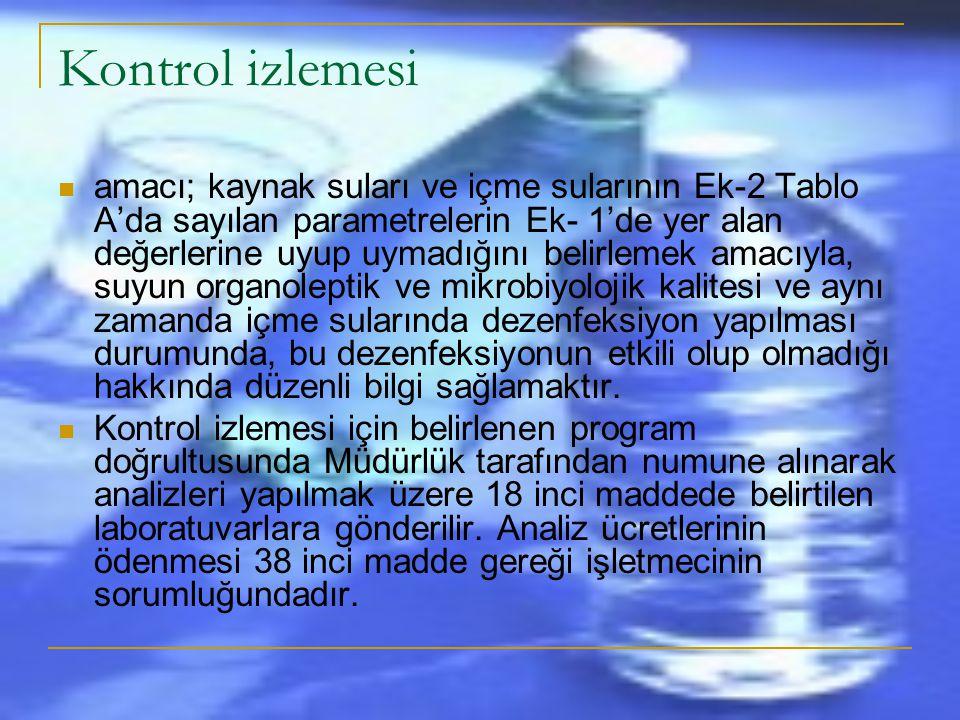 DENETLEME İZLEMESİNDE ALINACAK NUMUNELER Sular Ek -1 (a) ve (b)' de belirtilen parametreler ile 7 nci maddenin ikinci fıkrası uyarınca belirlenen bütü