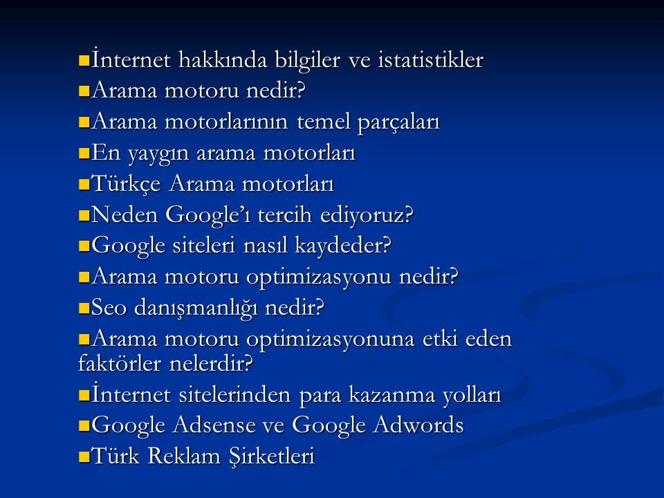  İnternet hakkında bilgiler ve istatistikler  Arama motoru nedir?  Arama motorlarının temel parçaları  En yaygın arama motorları  Türkçe Arama mo