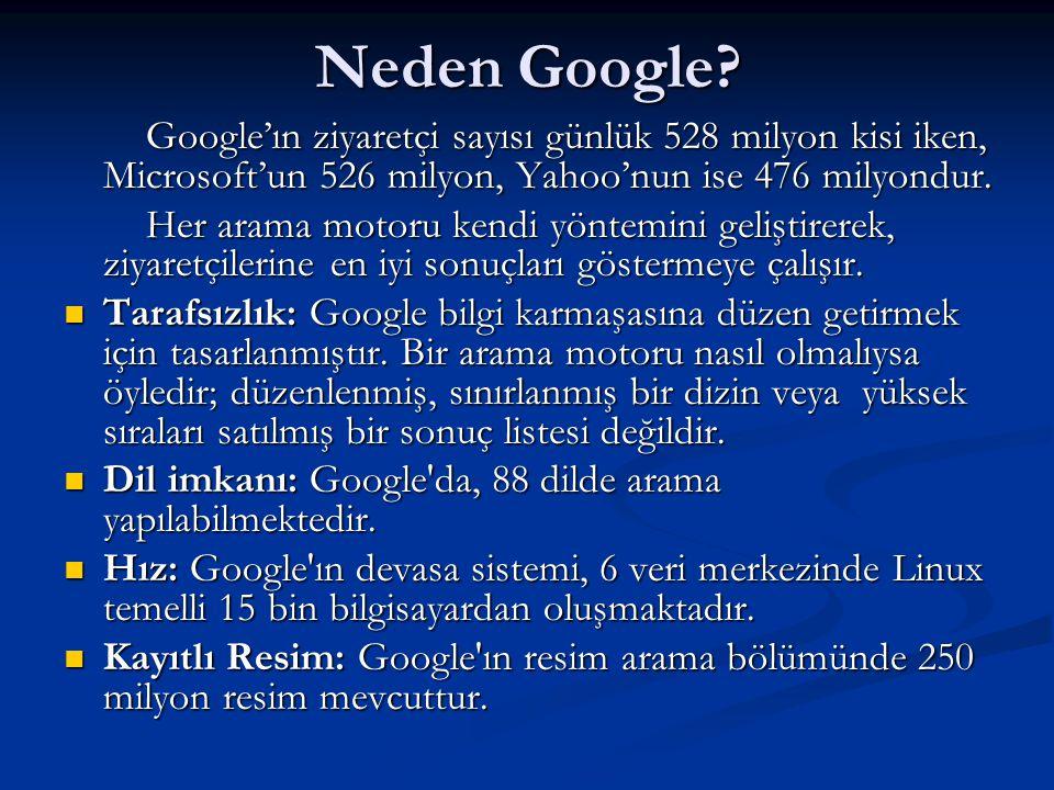 Neden Google? Google'ın ziyaretçi sayısı günlük 528 milyon kisi iken, Microsoft'un 526 milyon, Yahoo'nun ise 476 milyondur. Google'ın ziyaretçi sayısı