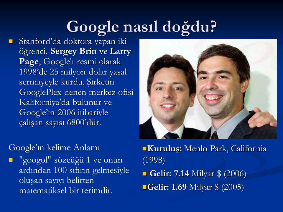 Google nasıl doğdu?  Stanford'da doktora yapan iki öğrenci, Sergey Brin ve Larry Page, Google'ı resmi olarak 1998'de 25 milyon dolar yasal sermayeyle