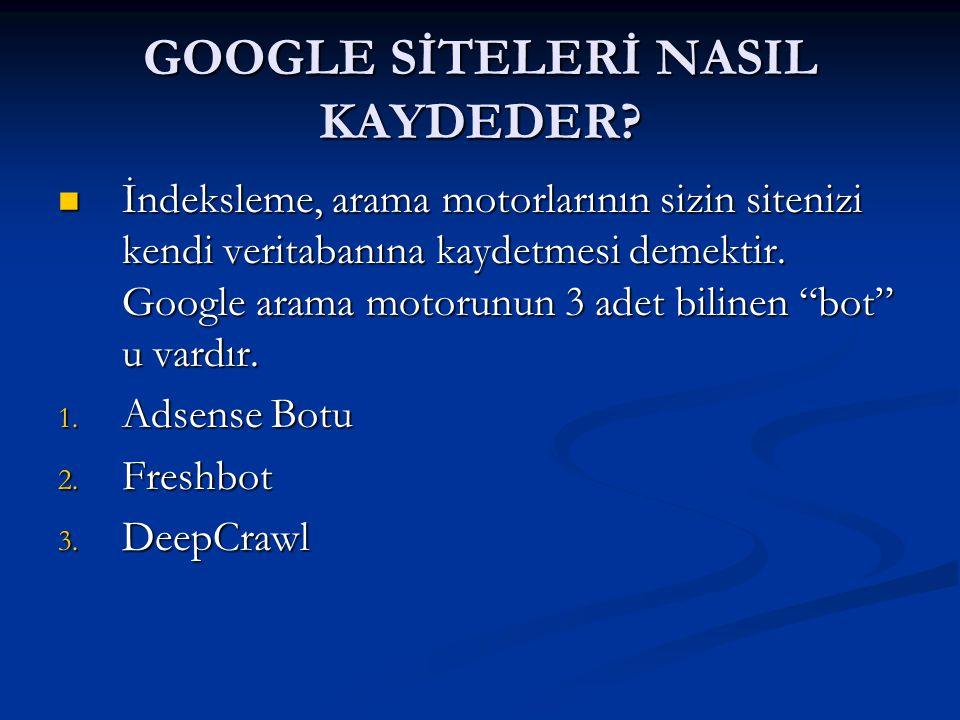 GOOGLE SİTELERİ NASIL KAYDEDER.