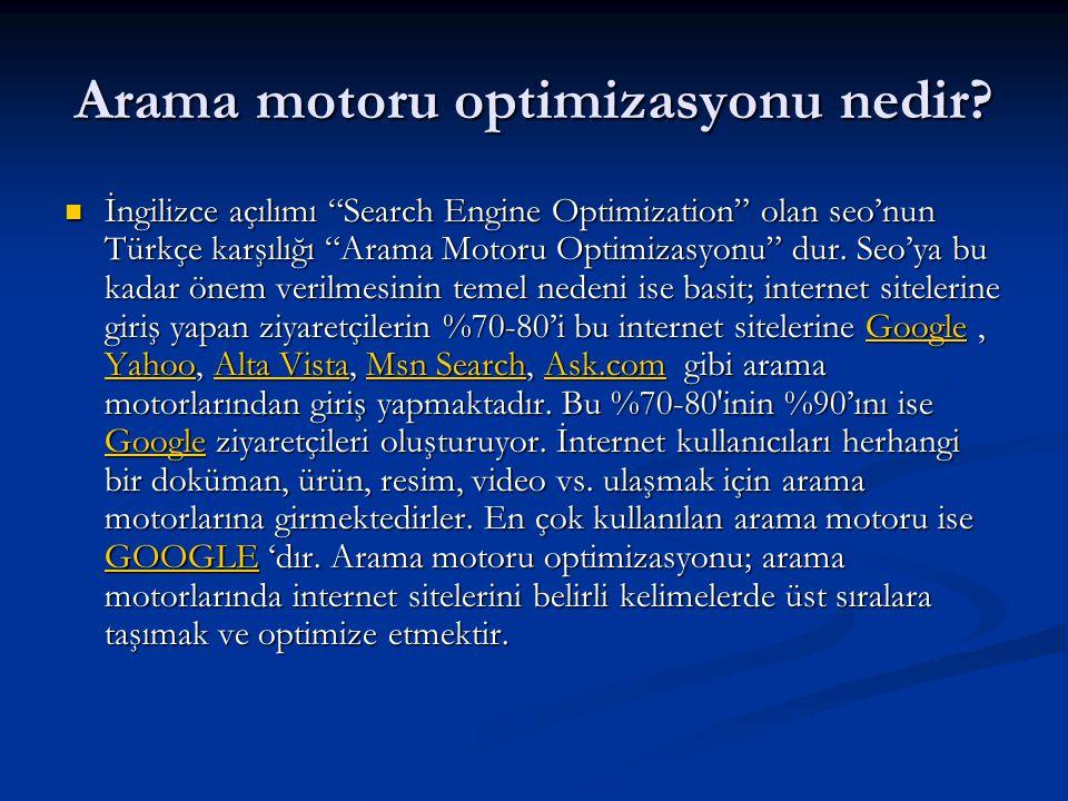 """Arama motoru optimizasyonu nedir?  İngilizce açılımı """"Search Engine Optimization"""" olan seo'nun Türkçe karşılığı """"Arama Motoru Optimizasyonu"""" dur. Seo"""