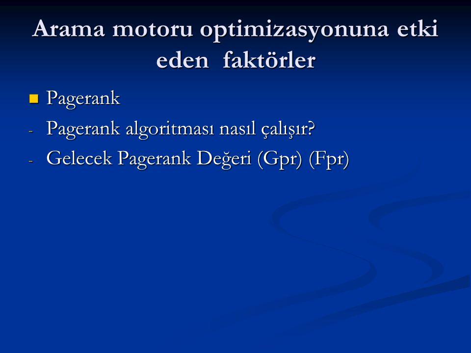 Arama motoru optimizasyonuna etki eden faktörler  Pagerank - Pagerank algoritması nasıl çalışır? - Gelecek Pagerank Değeri (Gpr) (Fpr)