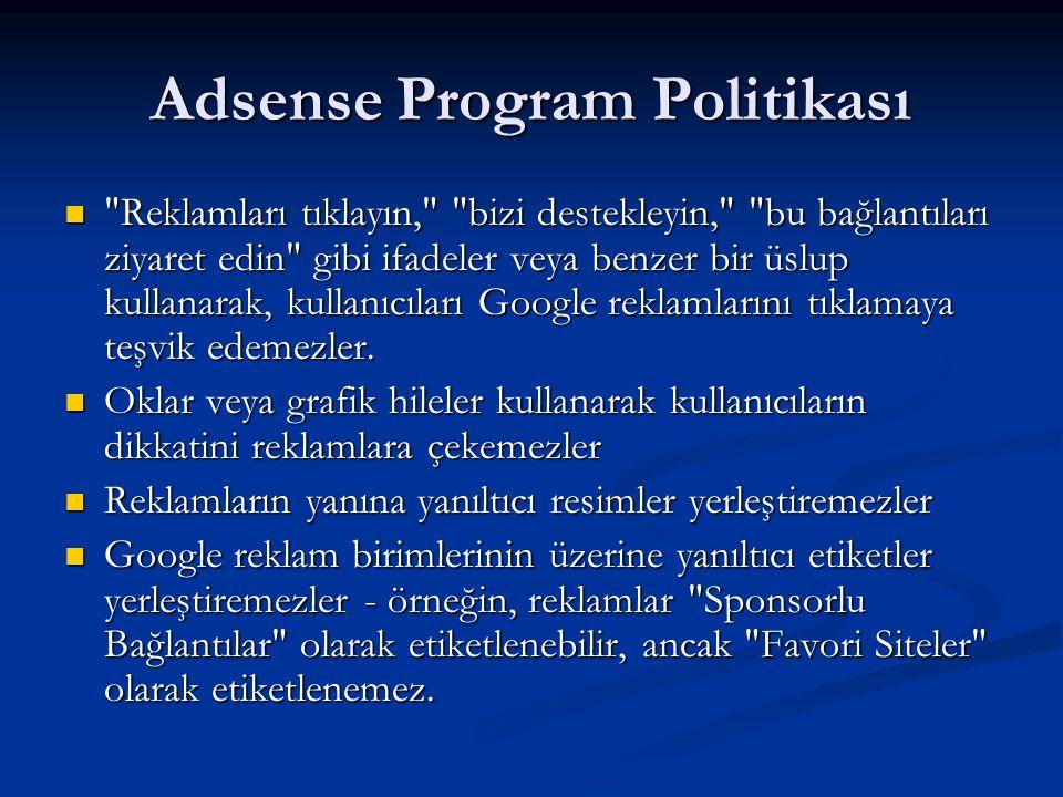 Adsense Program Politikası 