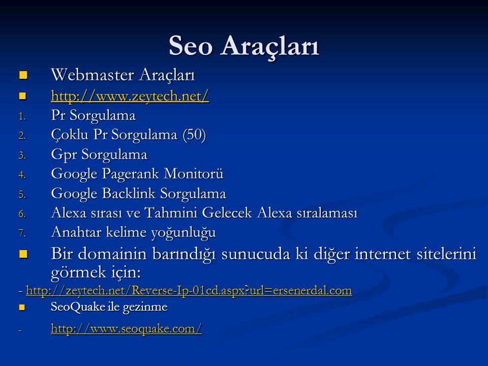 Seo Araçları  Webmaster Araçları  http://www.zeytech.net/ http://www.zeytech.net/ 1. Pr Sorgulama 2. Çoklu Pr Sorgulama (50) 3. Gpr Sorgulama 4. Goo
