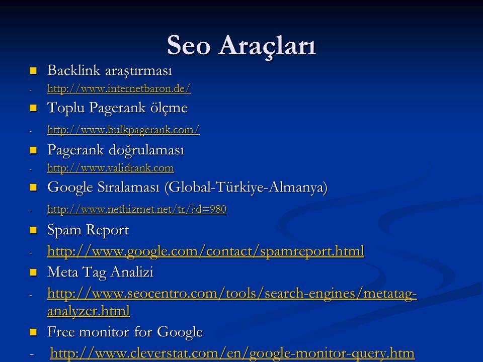 Seo Araçları  Backlink araştırması - http://www.internetbaron.de/ http://www.internetbaron.de/  Toplu Pagerank ölçme - http://www.bulkpagerank.com/ http://www.bulkpagerank.com/  Pagerank doğrulaması - http://www.validrank.com http://www.validrank.com  Google Sıralaması (Global-Türkiye-Almanya) - http://www.nethizmet.net/tr/?d=980 http://www.nethizmet.net/tr/?d=980  Spam Report - http://www.google.com/contact/spamreport.html http://www.google.com/contact/spamreport.html  Meta Tag Analizi - http://www.seocentro.com/tools/search-engines/metatag- analyzer.html http://www.seocentro.com/tools/search-engines/metatag- analyzer.html http://www.seocentro.com/tools/search-engines/metatag- analyzer.html  Free monitor for Google - http://www.cleverstat.com/en/google-monitor-query.htm http://www.cleverstat.com/en/google-monitor-query.htm