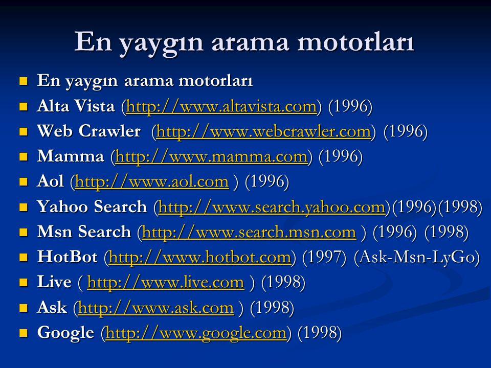En yaygın arama motorları  En yaygın arama motorları  Alta Vista (http://www.altavista.com) (1996) http://www.altavista.com  Web Crawler (http://www.webcrawler.com) (1996) http://www.webcrawler.com  Mamma (http://www.mamma.com) (1996) http://www.mamma.com  Aol (http://www.aol.com ) (1996) http://www.aol.com  Yahoo Search (http://www.search.yahoo.com)(1996)(1998) http://www.search.yahoo.com  Msn Search (http://www.search.msn.com ) (1996) (1998) http://www.search.msn.com  HotBot (http://www.hotbot.com) (1997) (Ask-Msn-LyGo) http://www.hotbot.com  Live ( http://www.live.com ) (1998) http://www.live.com  Ask (http://www.ask.com ) (1998) http://www.ask.com  Google (http://www.google.com) (1998) http://www.google.com