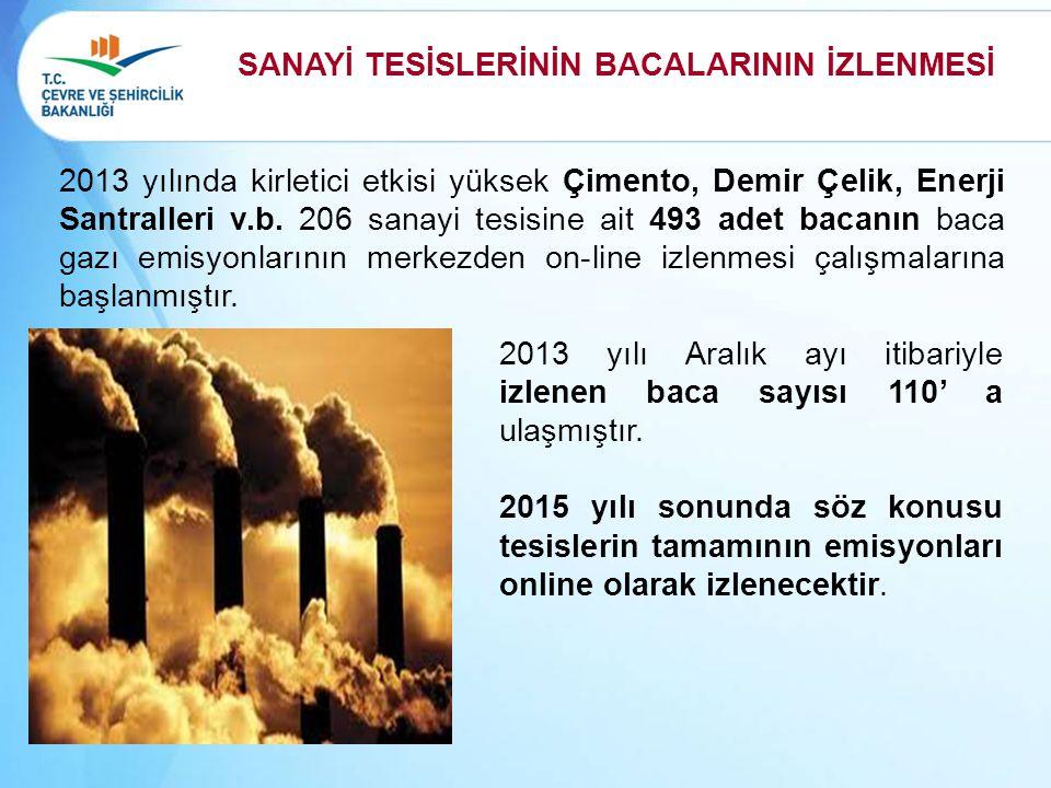 2013 yılında kirletici etkisi yüksek Çimento, Demir Çelik, Enerji Santralleri v.b. 206 sanayi tesisine ait 493 adet bacanın baca gazı emisyonlarının m