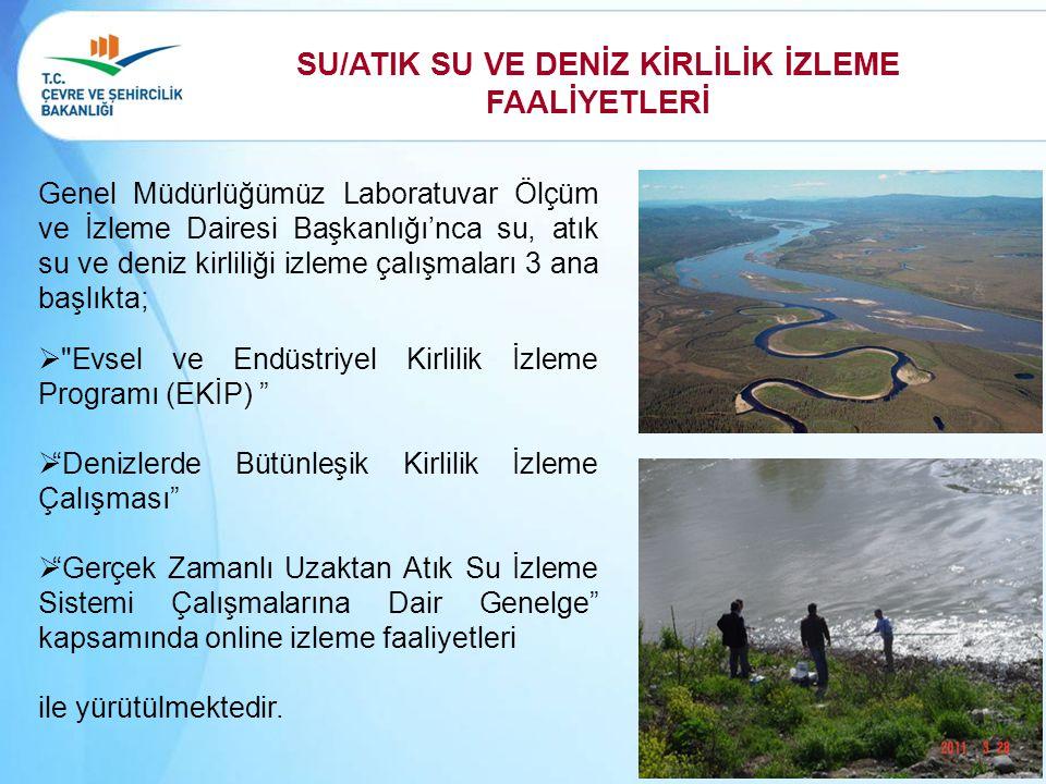 SU/ATIK SU VE DENİZ KİRLİLİK İZLEME FAALİYETLERİ Genel Müdürlüğümüz Laboratuvar Ölçüm ve İzleme Dairesi Başkanlığı'nca su, atık su ve deniz kirliliği
