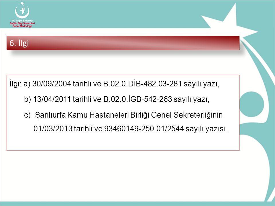 6. İlgi İlgi: a) 30/09/2004 tarihli ve B.02.0.DİB-482.03-281 sayılı yazı, b) 13/04/2011 tarihli ve B.02.0.İGB-542-263 sayılı yazı, c) Şanlıurfa Kamu H