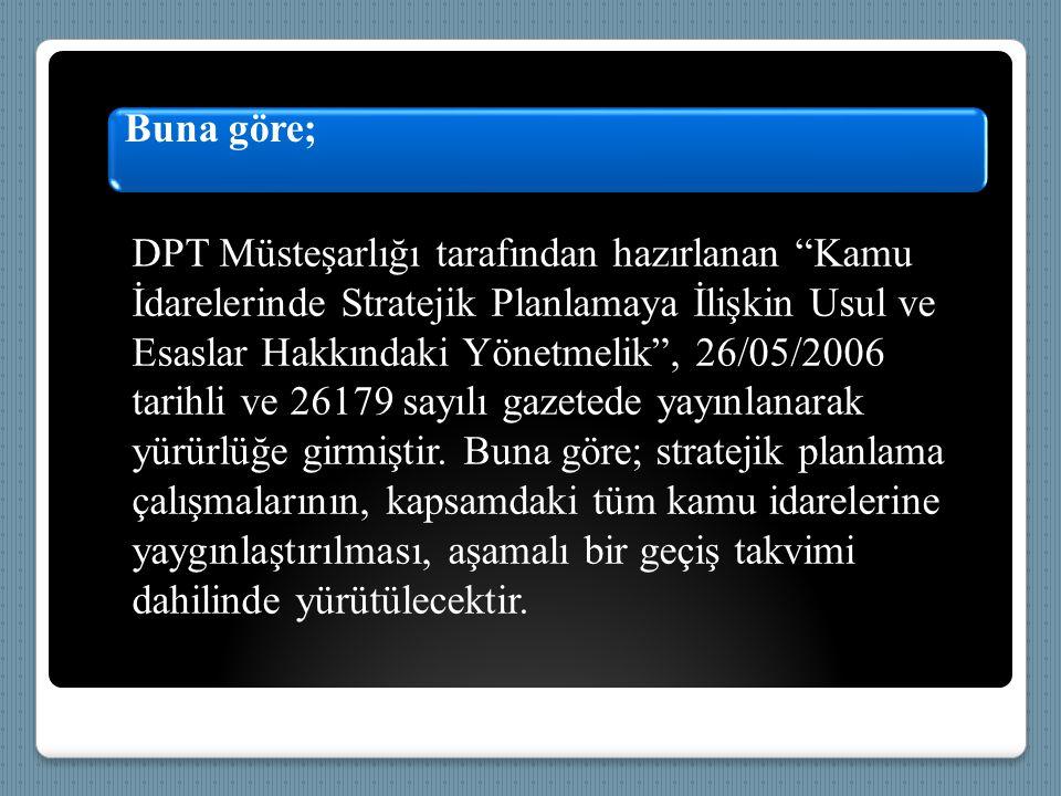 """Buna göre; DPT Müsteşarlığı tarafından hazırlanan """"Kamu İdarelerinde Stratejik Planlamaya İlişkin Usul ve Esaslar Hakkındaki Yönetmelik"""", 26/05/2006 t"""