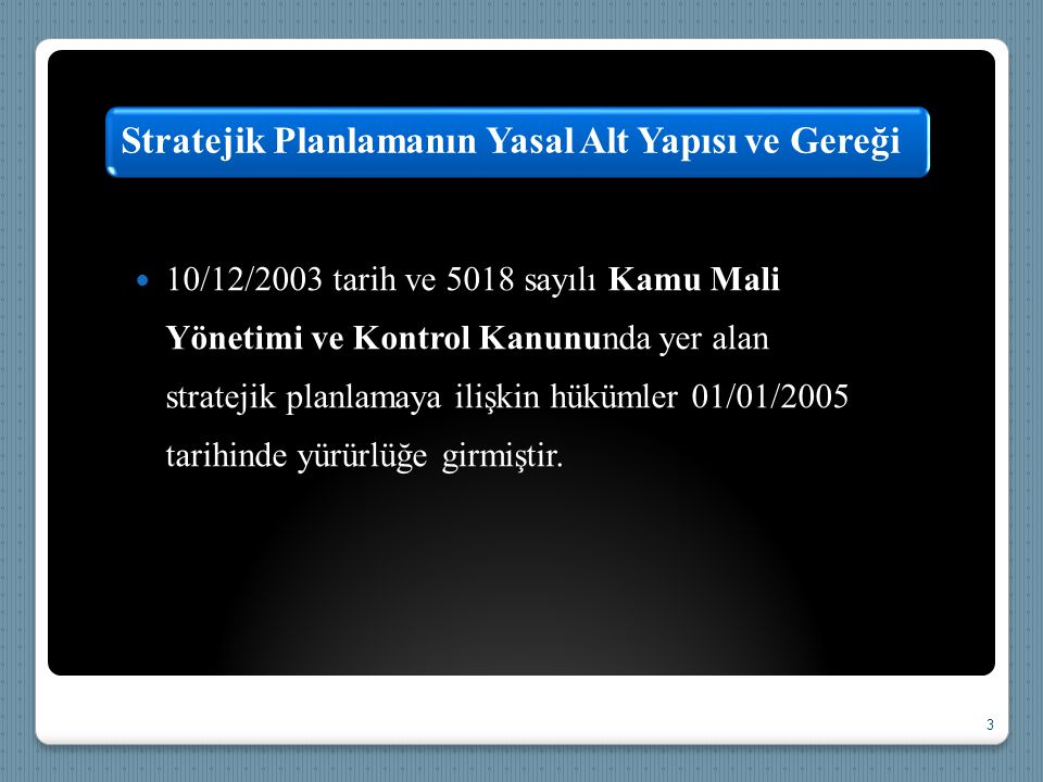  10/12/2003 tarih ve 5018 sayılı Kamu Mali Yönetimi ve Kontrol Kanununda yer alan stratejik planlamaya ilişkin hükümler 01/01/2005 tarihinde yürürlüğ