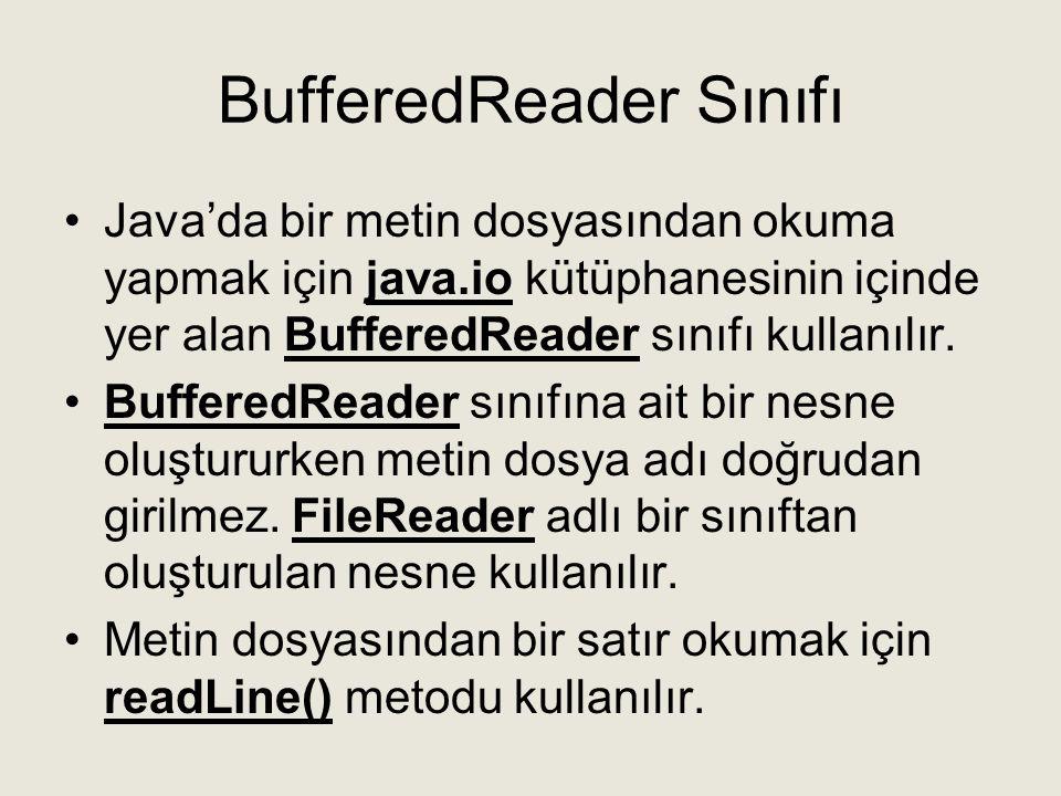 BufferedReader Sınıfı •Java'da bir metin dosyasından okuma yapmak için java.io kütüphanesinin içinde yer alan BufferedReader sınıfı kullanılır. •Buffe